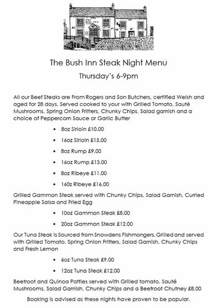 This Week at The Bush Monday evening will see us enjoying the usual  Acoustic Jam Session from about 7pm. Tuesday (Every Tuesday is Pizza Night  (see menu ...